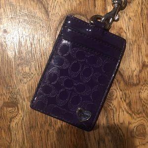 Coach purple paten leather lanyard/badgeholder